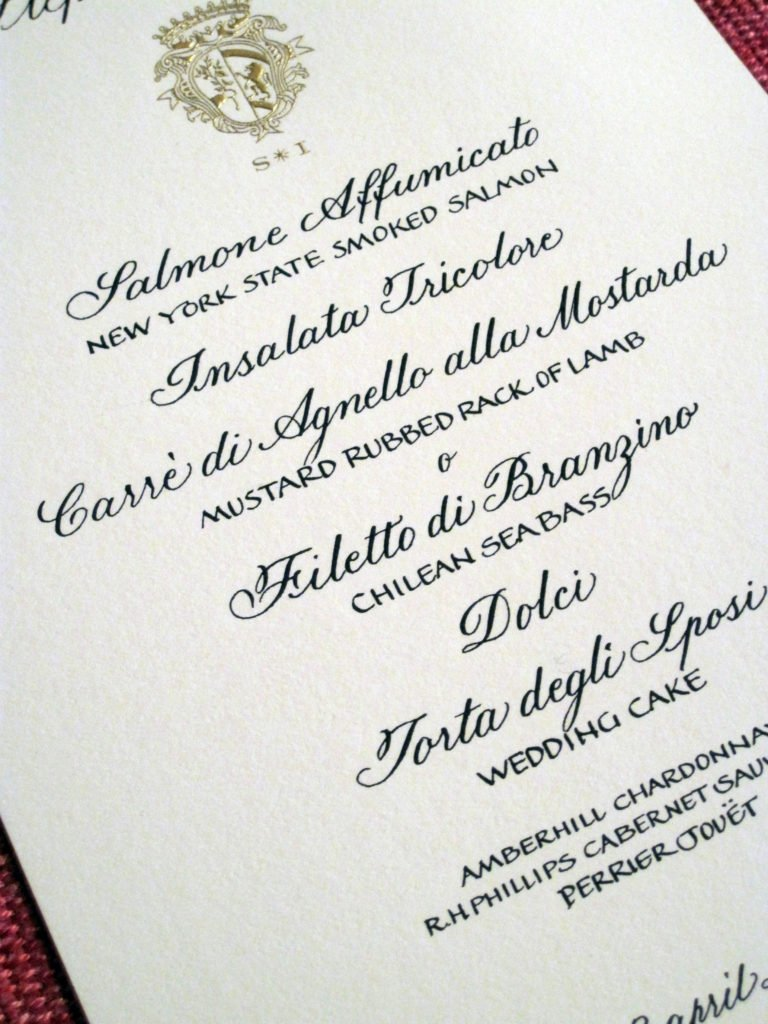 Hand beveled, engraved Menu | Oxford Script
