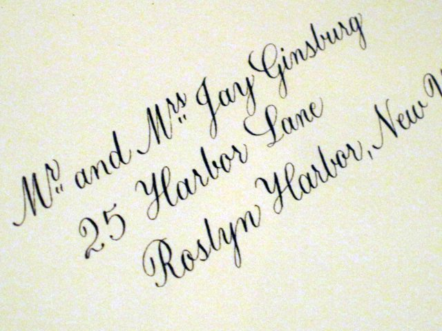 Calligraphy addressed envelope   Oxford script, raised 'r'