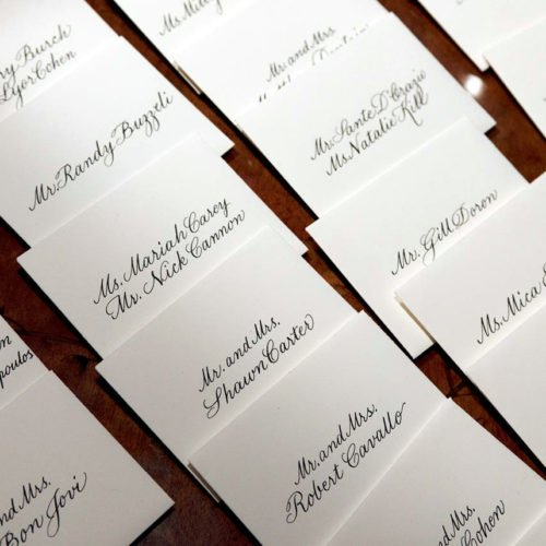 Escort card table | Copperplate script
