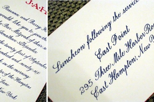 Hand calligraphy engraved invitation