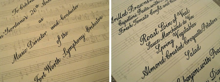 Custom designed Invitation and Menu card | Musical Scale flat printed Half tone, Text Engraved